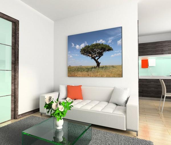 120x80cm Wandbild Afrika Baum Löwen