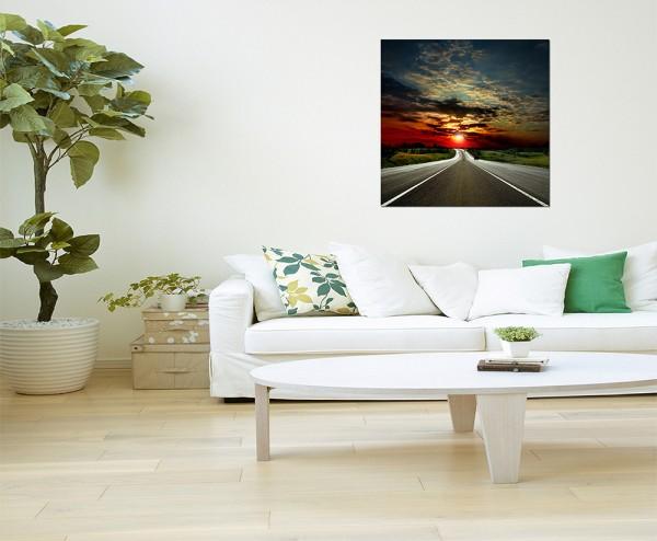 80x80cm Straße Asphalt Landschaft Abendrot