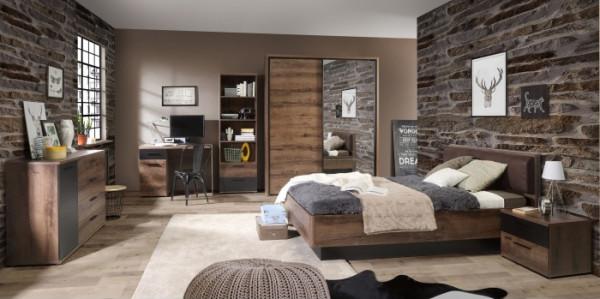 Jugendzimmer Jacky in Schlammeiche kombiniert mit Schwarzeiche 7 teiliges Megaset mit Schwebetürensc