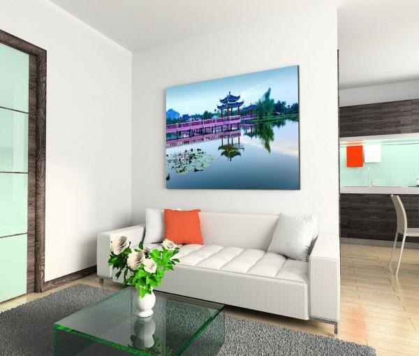 120x80cm Wandbild Malaysia Pavillon Wasser Brücke Seerosen