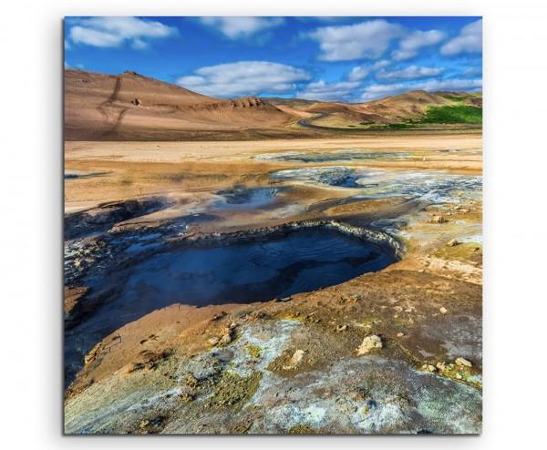 Landschaftsfotografie – Thermalquelle, Island auf Leinwand