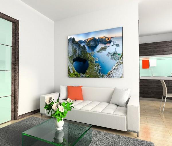 120x80cm Wandbild Norwegen Lofoten Inseln Felsen Meer Abendlicht