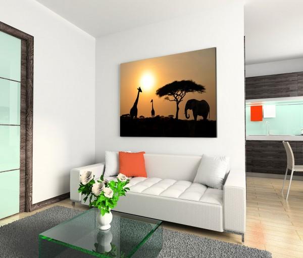 120x80cm Wandbild Afrika Serengeti Safari Giraffen Elefanten Akazie Baum
