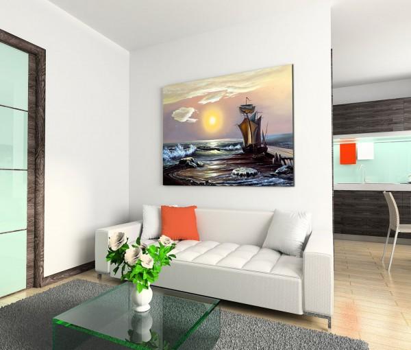 120x80cm Wandbild Meer Segelboot Sonnenaufgang