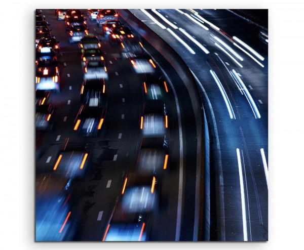 Urbane Fotografie – Stau bei Nacht auf Leinwand
