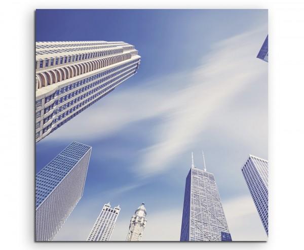 Urbane Fotografie – Wolkenkratzer in Chicago auf Leinwand exklusives Wandbild moderne Fotografie für