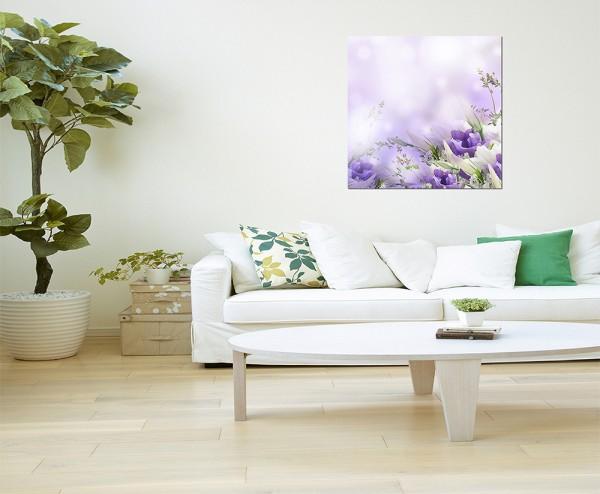 80x80cm Blumen Blüten Farbenfroh Hintergrund
