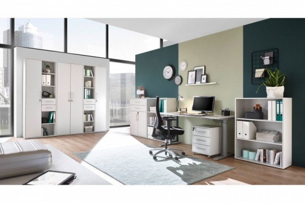Büromöbel Pronto Office in Lichtgrau 8 Teile von Bega mit höhenverstellbarem Schreibtisch