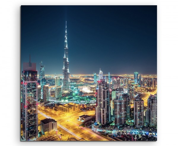 Architekturfotografie – Dubai Skyline bei Nacht, UAE auf Leinwand