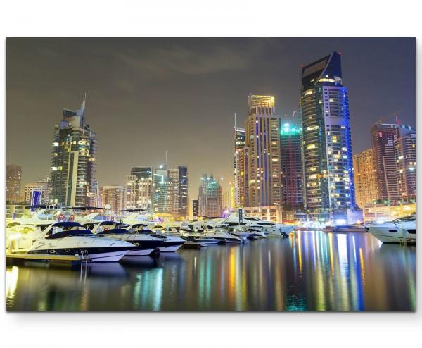 Hafen in Dubai bei Nacht - Leinwandbild
