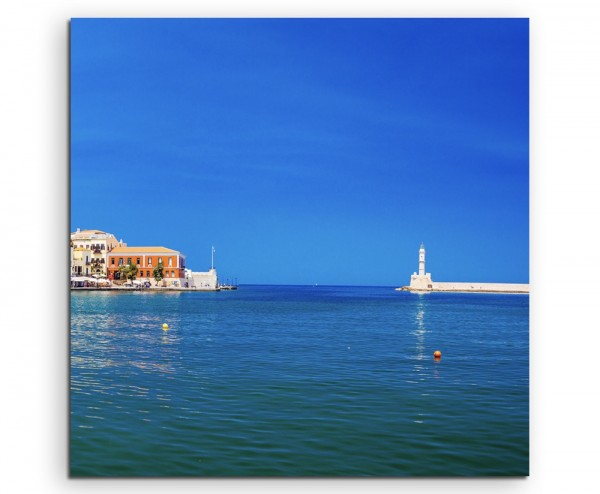 Landschaftsfotografie – Hafen in Chania, Kreta, Griechenland auf Leinwand exklusives Wandbild moder