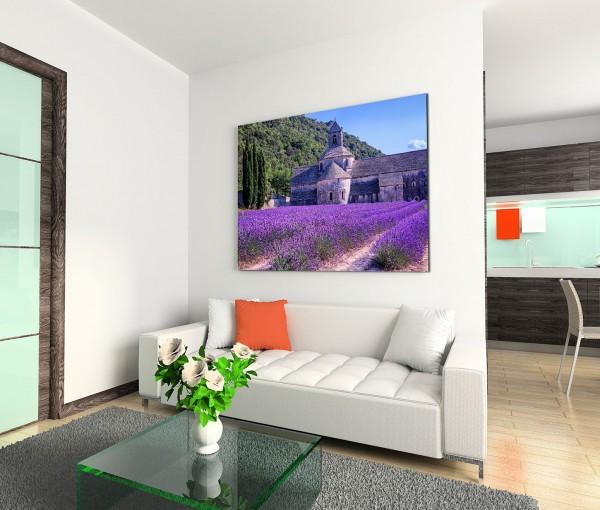 120x80cm Wandbild Frankreich Provence Lavendelfeld Steinkirche