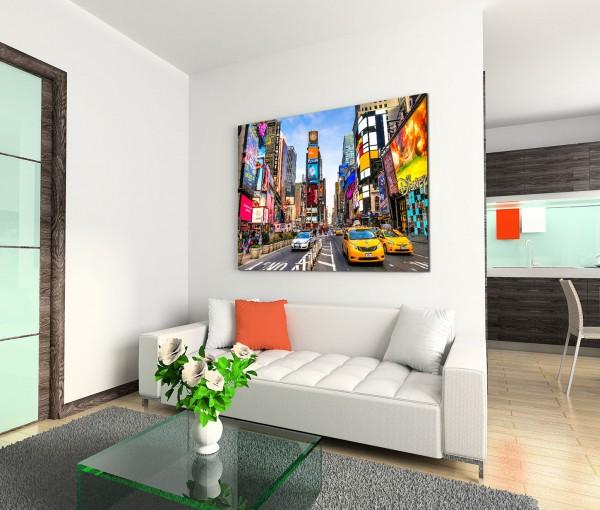 120x80cm Wandbild New York Times Square Reklamen Straße Verkehr
