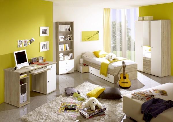Jugendzimmer Wiki 4 teilig in Eiche Sonoma Weiß +++ möbel-direkt +++ schnell und günstig