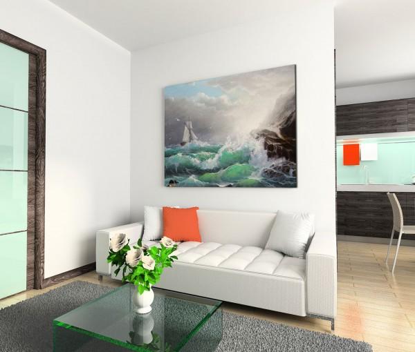 120x80cm Wandbild Ölmalerei Meer Sturm Wellen Felsen Segelboot