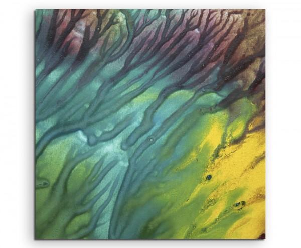 Leuchtendes Aquarell mit Struktur auf Leinwand