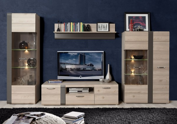 Wohnwand Locarno in Nelson Eiche und Grau matt 4 teilig von Forte +++ von möbel-direkt+++ schnell und günstig