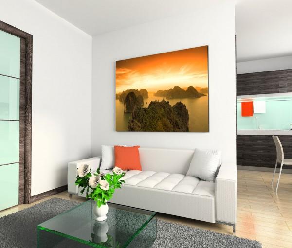 120x80cm Wandbild Vietnam Halong Bay Felsen Meer Sonnenuntergang