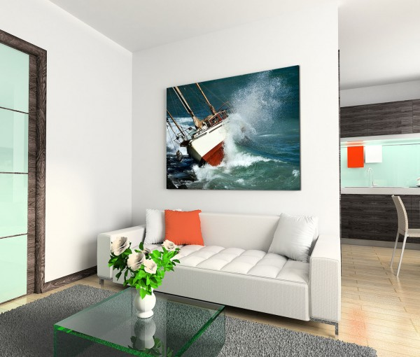 120x80cm Wandbild Meer Wellen Segelboot Schiffbruch