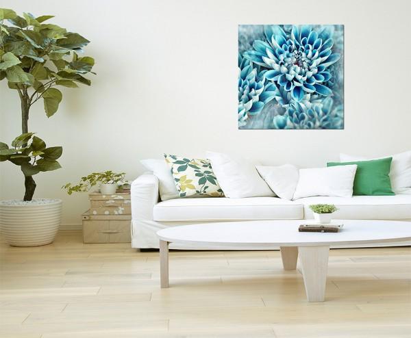 80x80cm Blume blühen blau abstrakt