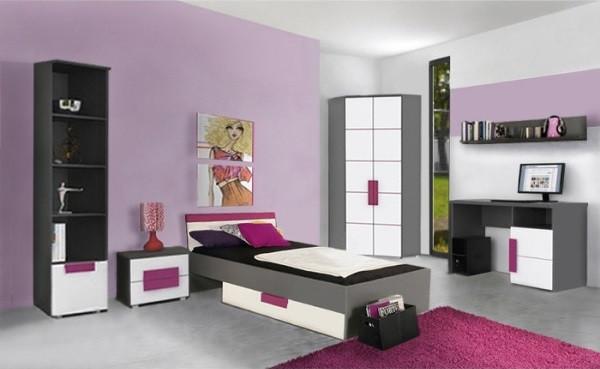 Jugendzimmer Libelle in Grau, Weiß und Violett 7 teilig mit Eckkleiderschrank +++ von möbel-direkt+++ schnell und günstig