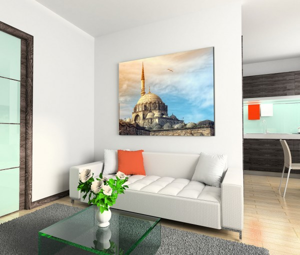120x80cm Wandbild Istanbul Yeni Cami Moschee Wolken