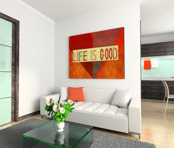120x80cm Wandbild Herz Schriftzug LIFE IS GOOD
