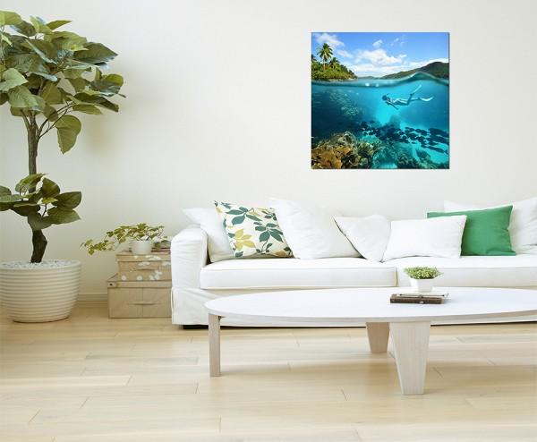 80x80cm Korallenriff Fische Taucher Meer Natur