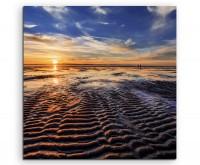 Landschaftsfotografie – Ebbe bei Sonnenuntergang auf Leinwand