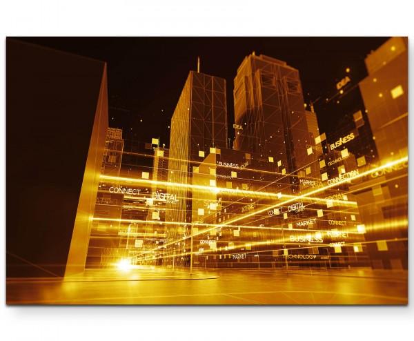 abstrakte Stadtlandschaft mit digitalen Elementen - Leinwandbild