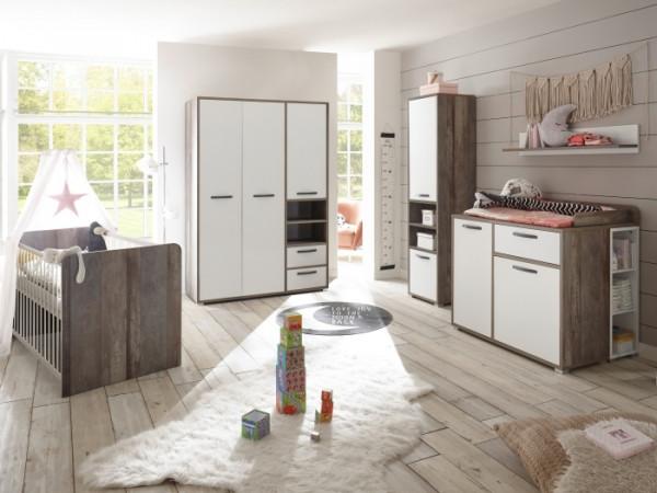 Babyzimmer Moon in Driftwood- Weiß 8 teiliges Megaset mit Schrank, Bett mit Lattenrost und Umbauseit