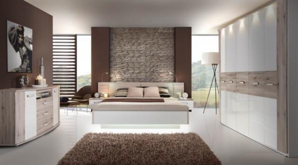 Schlafzimmer Rondino in Sandeiche von Forte Megaset mit Drehtürenschrank, Bettanlage, Sitzbank, Komm