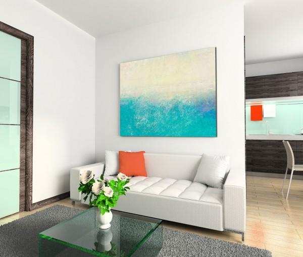 120x80cm Wandbild Hintergrund abstrakt blau creme