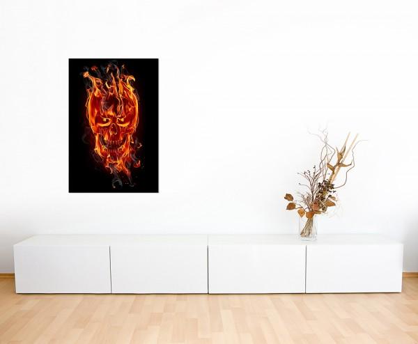 120x60cm Feuer Flammen Totenkopf Rauch