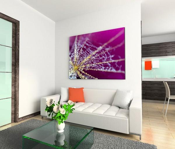 120x80cm Wandbild Spinnennetz Wassertropfen Tau Nahaufnahme
