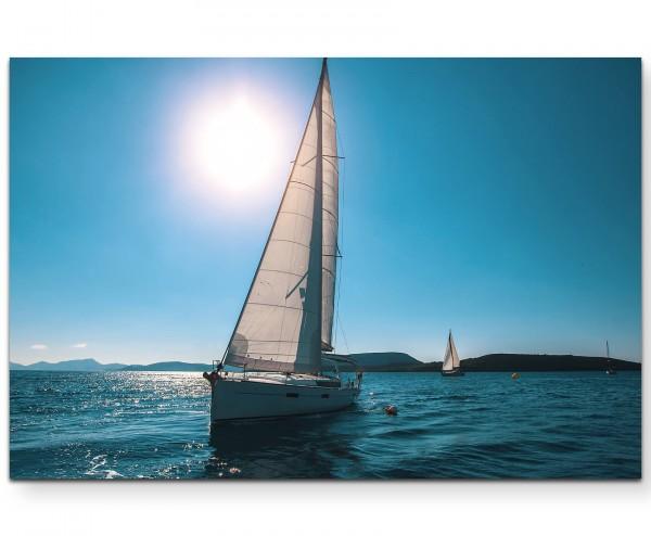 Segelschiff auf dem See im Sommer - Leinwandbild