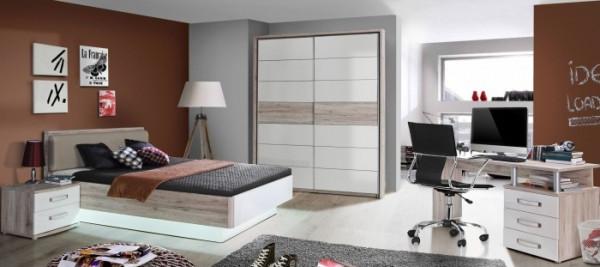 Jugendzimmer Rondino in Sandeiche und Weiß hochglanz 5 teilig +++ von möbel-direkt+++ schnell und günstig