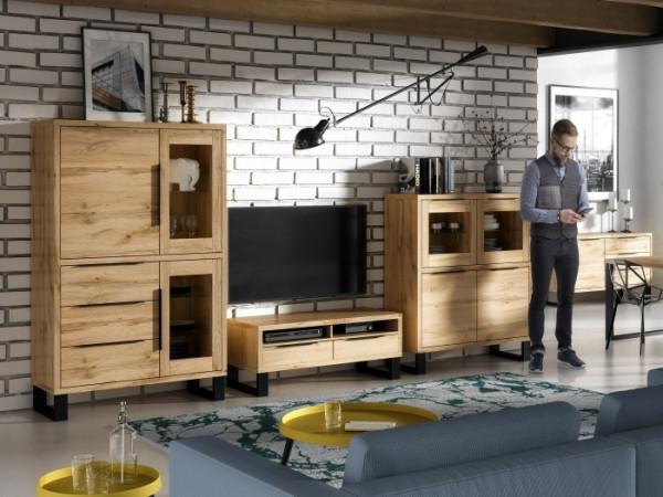 Wohnwand Halle in Wotan Eiche 4teiliges Superset mit Hochkommode, Vitrine, TV- Schrank und Kommode