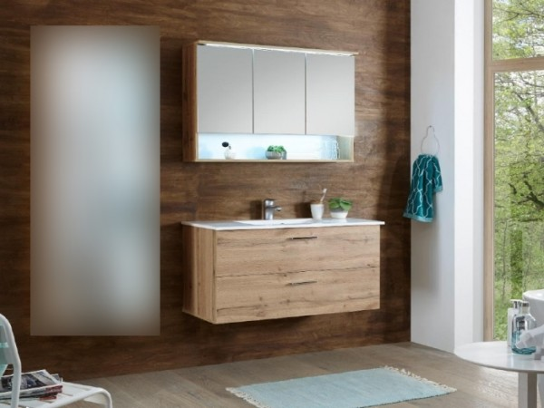 """Badezimmer Oak """"Best"""" in San Gallo 2 teilig mit Waschbeckenunterschrank inklusive Becken, Spiegelsch"""