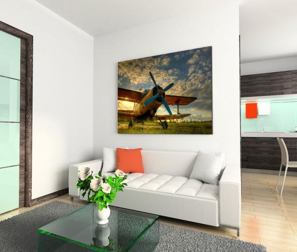 120x80cm Wandbild Segelflugzeug Gras Wolken Sonnenuntergang