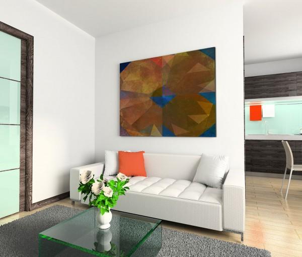 120x80cm Wandbild Geometrie Hintergrund abstrakt braun blau rot