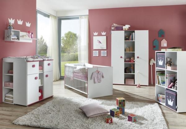 Babyzimmer Mia in Weiß mit pinkfarbigen Kanten und Türgriffen 5 teiliges Komplett Set mit Schrank, B
