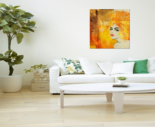 80x80cm Frau Gesicht Gemälde abstrakt