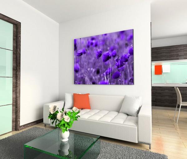 120x80cm Wandbild Blumen Wiese lila