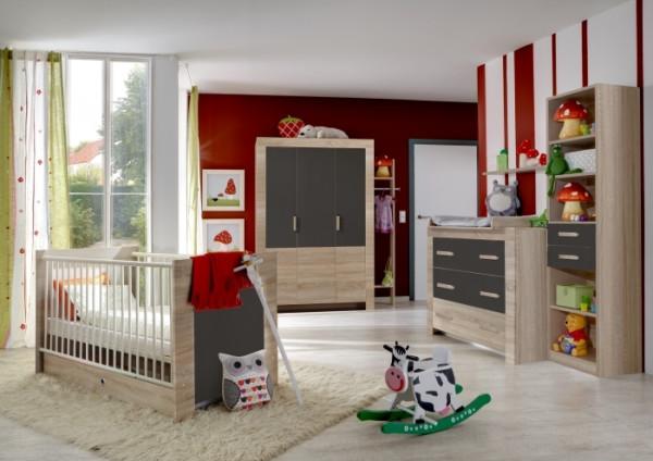 Babyzimmer Emily in Eiche Sägerau und Graphit 7 teiliges Sparset mit Schrank, Bett mit Lattenrost un