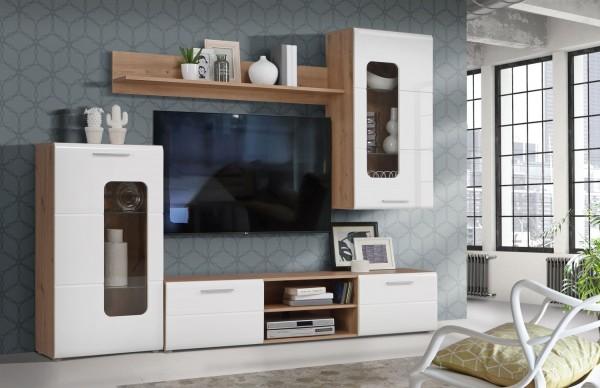Wohnwand Owinko Artisan Eiche und Weiß 4 teilig von Forte +++ von möbel-direkt+++ schnell und günstig