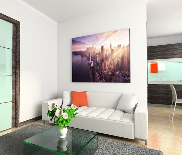 120x80cm Wandbild New York Manhattan Wolkenkratzer Wasser Abendlicht
