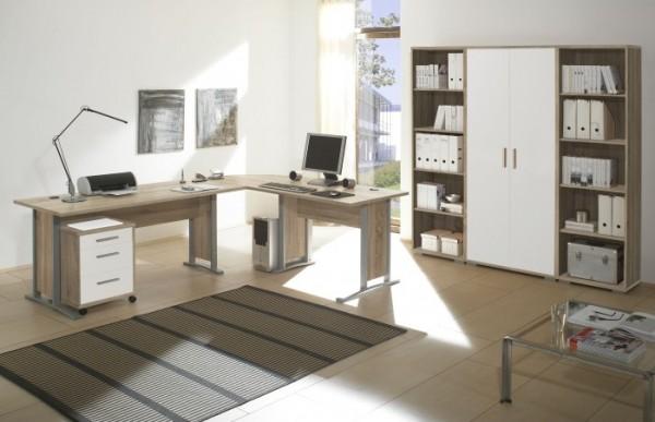 Büromöbel Office Line Smart in Eiche Sonoma und Weiß 5 teilig +++ von möbel-direkt+++ schnell und günstig