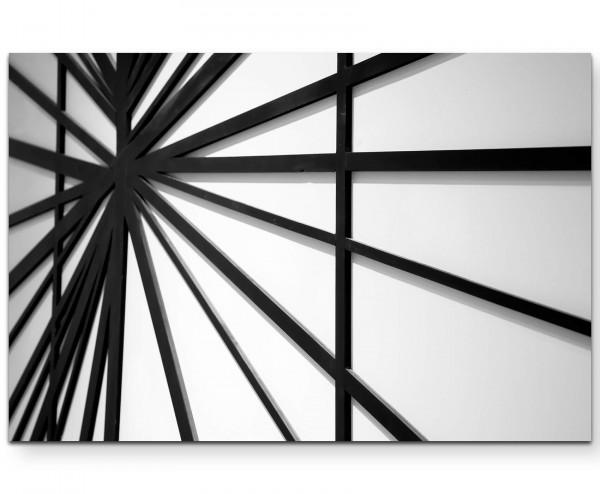 Schwarze und weiße Linien auf weißer Wand - Leinwandbild