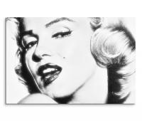 120x80cm Wandbild Marilyn Monroe Portrait Gesicht schwarz weiß